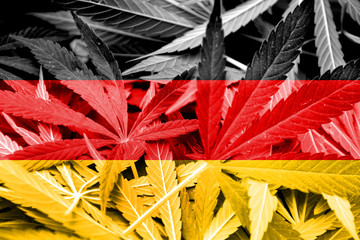 Germany Flag on cannabis background. Drug policy