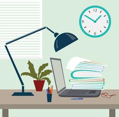 Office desk, workstation, workspace, flat design