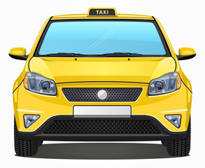 Vector Yellow Taxi Car - Front view