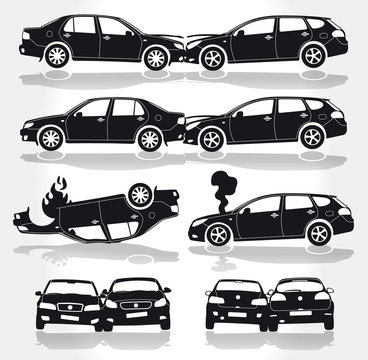 Vector Car Crashes - Side - Front - Back view