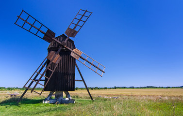 Old traditional Swedish windmill