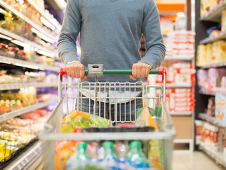 Person shopping in a supermarket