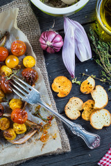 Helthy clean eating,roasted tomato with herbs from above
