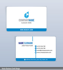 Modern creative blue and white business card template, Vector