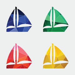 sail boat icon Abstract Triangle.
