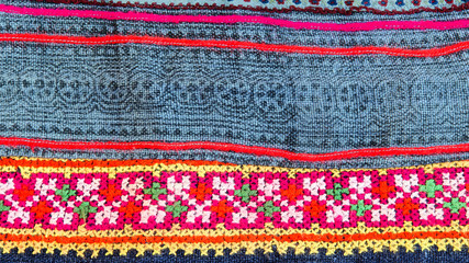 Thai embroidery, Handmade tribe textile style.