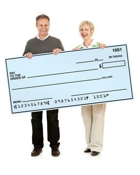 Couple: Husband and Wife Holding a Novelty Sized Check
