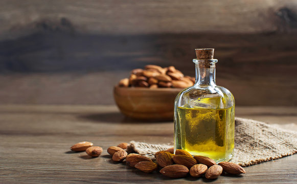 Glass bottle with almond oil