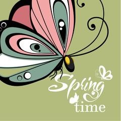 Flying butterfly  lettering background. Vector illustration