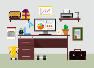 Vector flat workplace illustration
