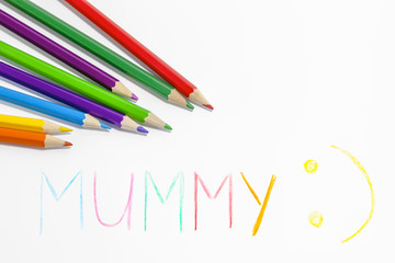pencils and word mummy