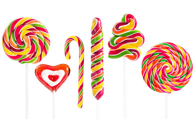 Fototapete - Colorful spiral lollipop isolated on white background
