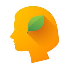 Female head icon with a leaf