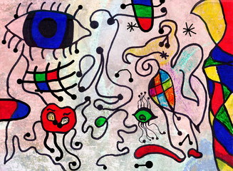Colorful abstract art painting by a ten years old child