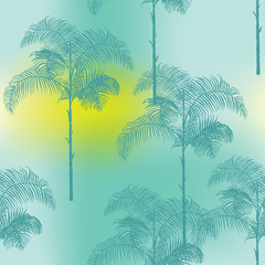 Tropical Palm Trees Background - Gradient Seamless Pattern