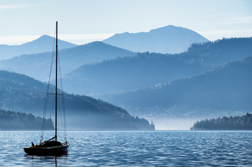 sailboats and mountains