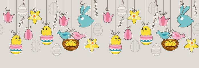 Seamless horizontal border with hanging eggs