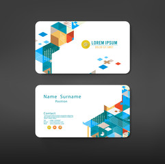 geometric business cards design template layout
