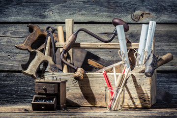 Vintage small carpentry workshop