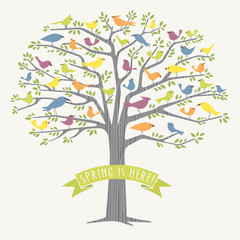 many different birds in a big tree vector drawing