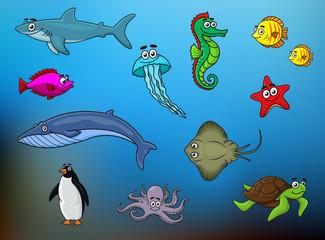 Cartoon happy smiling sea animals characters