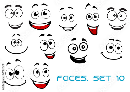 """Happy Emotions On Cartoon Faces"" Stock Image And Royalty"
