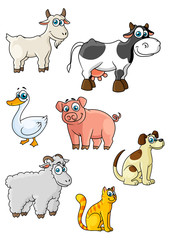 Cartoon cow, dog, sheep, pig, cat, goat, goose
