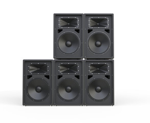 Big concert speakers stacked