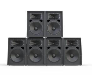 Big concert speakers stacked