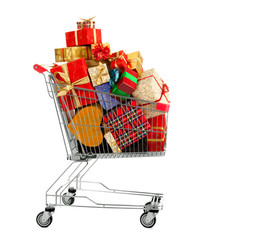 Shopping Trolley of Gifts on White Background