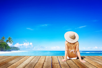 Relaxation Beach Woman Vacation Outdoors Seascape Concept