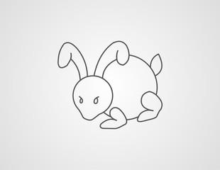 rabbit line art abstract illustration vector