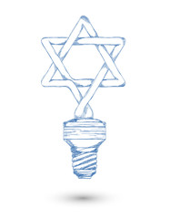 Sketch. Fluorescent lamp in the form of a Star of David