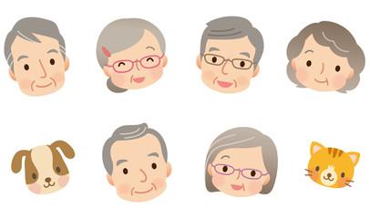 高齢者男女 シニア 顔