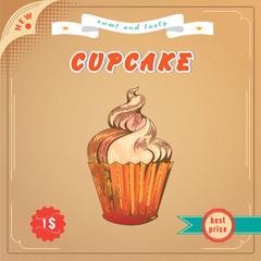 Cute cupcaket. Vector Engravin