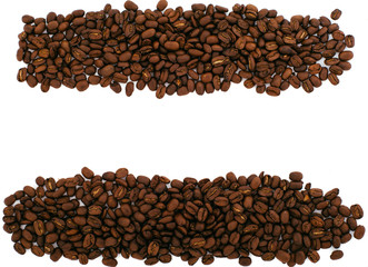 Coffee Beans texture isolated on white background with copy spac