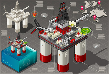 Isometric oil vector infographic gas rig