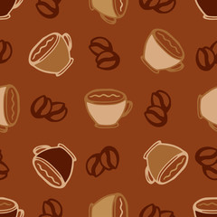 Hot  coffee cups seamless pattern background for cafe or restaurant menu design