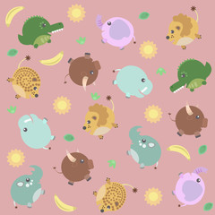 Funny pattern with african animals, sun and banana