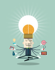 Illustration of businessman meditating with multitasking
