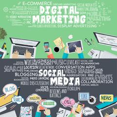 Flat design concepts for digital marketing and social media