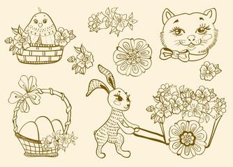 Hand drawn doodle Easter symbols