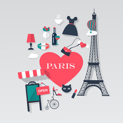 Paris tourism concept image.Vacation flat vector french icons.