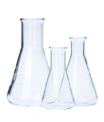 Erlenmeyer flasks of various size