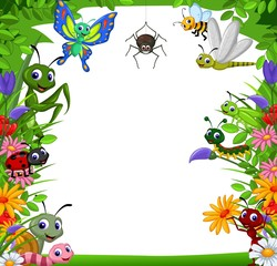 funny collection of insects in the flower garden