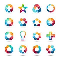 Logo templates set. Abstract circle creative signs and symbols