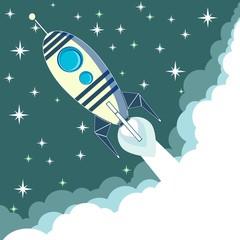 Space rocket in flight, vector illustration