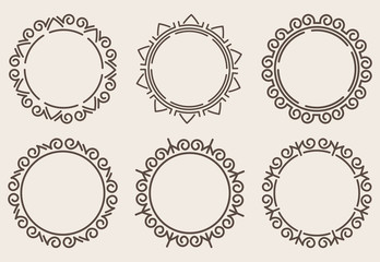 Set of six decorative round borders.