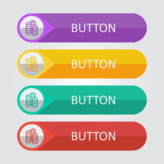 Vector flat buttons with coins icon