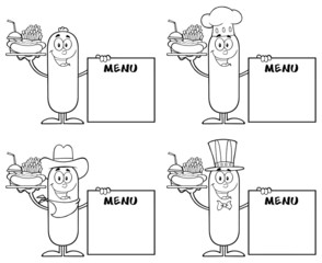 Black And White Sausage Cartoon Character 5. Collection Set